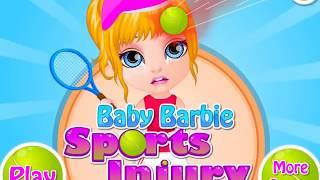 Маленькой Барби попали мячем по голове при игре в теннис! Игра для девочек!
