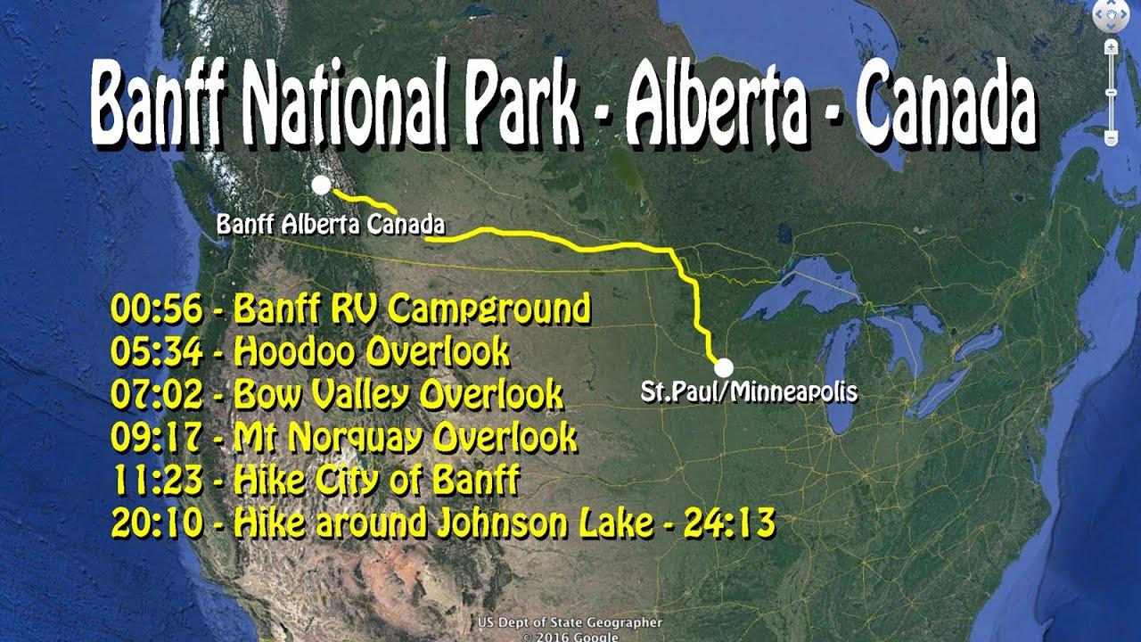 Banff RV Tunnel Mt CampgroundHoodoosMt Norquayhike Johnson Lake - Map of banff and us