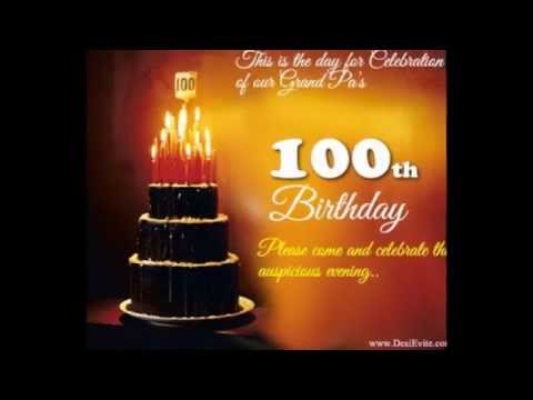 100th Birthday Invitation YouTube