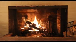 Cozy White Wood Burning Fireplace - Yule Log Video