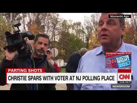 Chris Christie spars with voter at New Jersey polling place