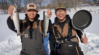 1v1 Trout Ice Fishing Challenge! (CATCH CLEAN COOK)