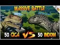 50 indominus rex vs 50 giganotosaurus 100 dinosaur battle jurassic world evolution gameplay