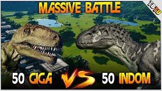 50 INDOMINUS REX Vs 50 GIGANOTOSAURUS! 100 DINOSAUR BATTLE! Jurassic World: Evolution Gameplay