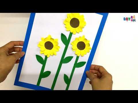 Hướng dẫn làm thiệp tranh hoa hướng dương | Làm thiệp hoa nổi | Dạy bé học