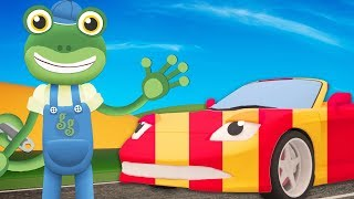 The Sports Car Visits Gecko! Gecko's Garage | Tractors - Kids Learning | Cars For Kids