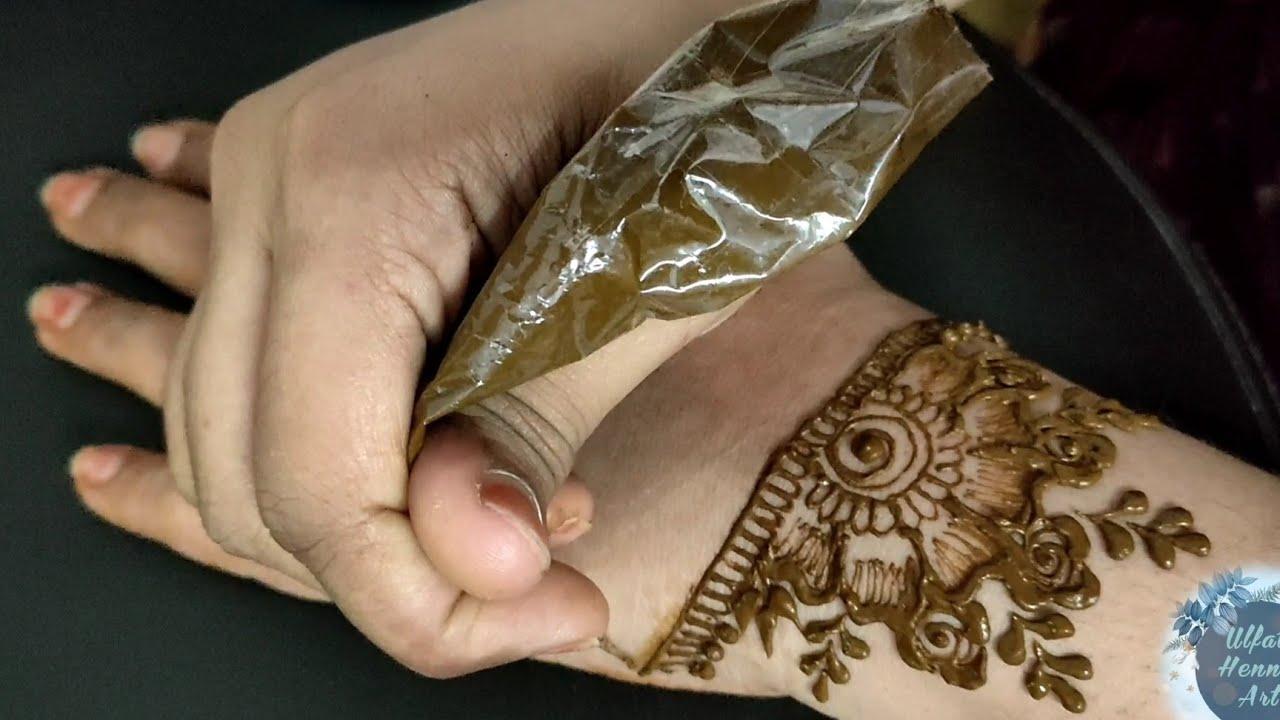 Beautiful henna mehendi for back hand/flower design/ulfat henna art