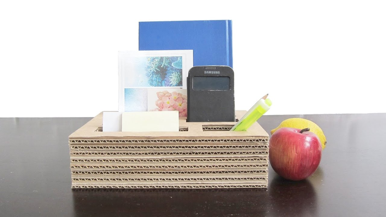 Cardboard organizer diy best out of waste project for Useful best out of waste