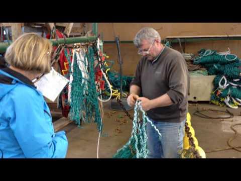 Fishing net repair shop in Iceland