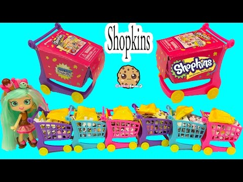 6 Shopkins 50 Piece Puzzle Blind Bag Shopping Carts at Small Mart with Peppa Mint Shoppies