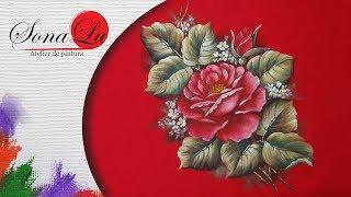 Pintura Rosa em Tecido Vermelho II