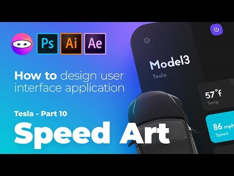 Tesla mobile app part 10 user experience design, speed art tutorial adobe illustrator, photoshop thumbnail
