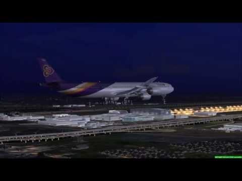 Thai A340-600 landing at Suvarnabhumi Airport Bangkok [FSX]