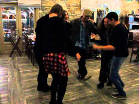 "Travel bloggers dancing ""greek-style"" in Volos"