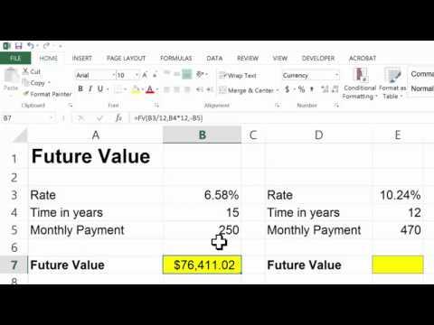 Excel 2013 Future Value Function