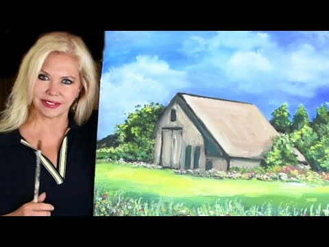 Art Tutorial -  learn how to paint a landscape - how to paint a barn thumbnail