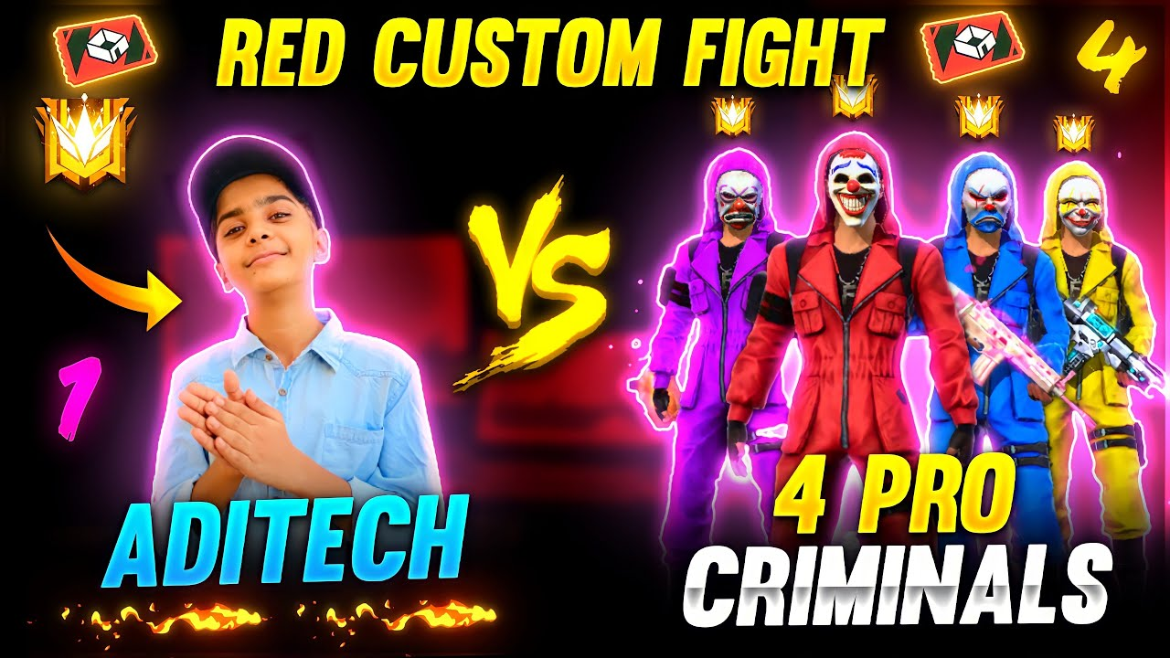 4 Pro Criminal Bundles Vs Aditech ❤️🤯 - Advance ( Red ) Custom Room Fight - Garena Free Fire