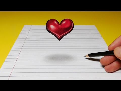 Drawing a Floating, Levitating 3D Heart, Anamorphic Trick Art
