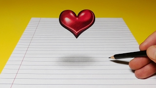 Drawing a Floating, Levitating 3D Heart, Anamorphic Trick Art