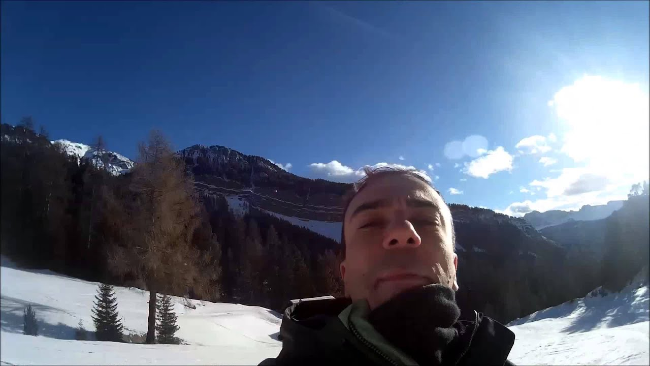 Val gardena sugli sci, discesa seceda val d'anna