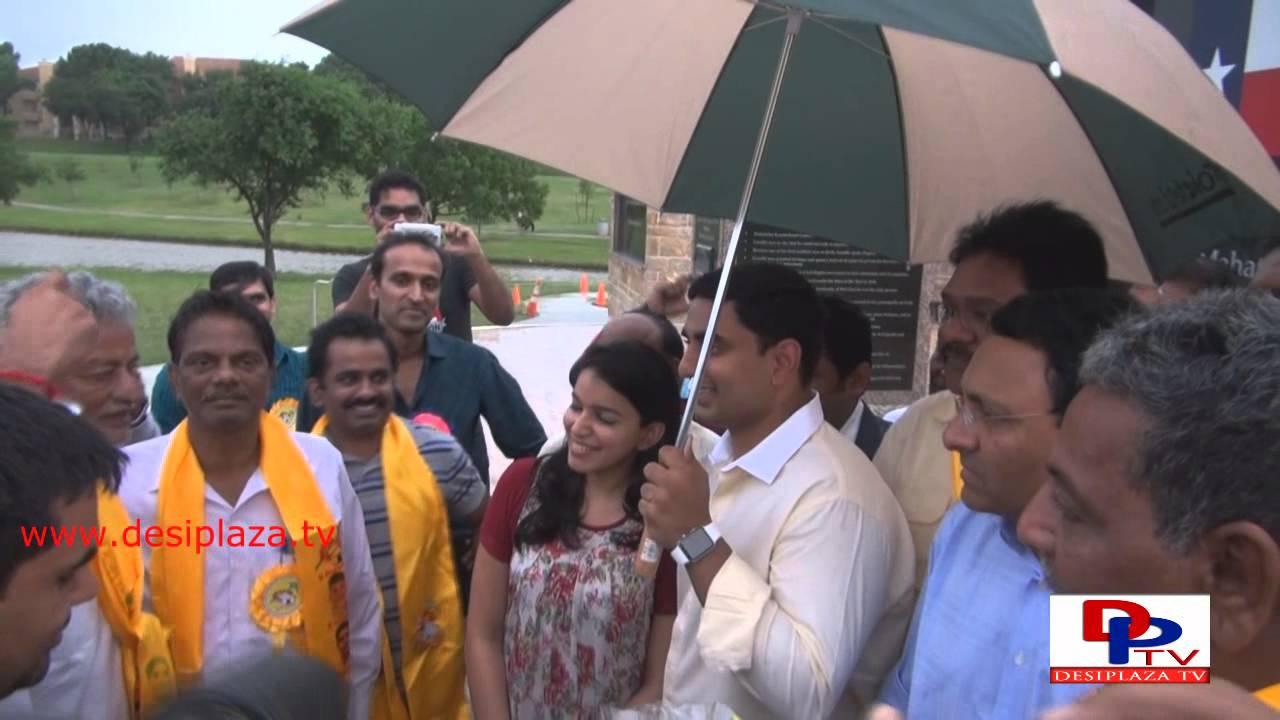 Nara Lokesh at Gandhi Park visiting Gandhi Memorial in Irving, TX