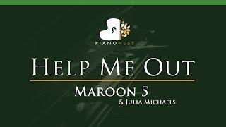 Maroon 5 & Julia Michaels - Help Me Out - LOWER Key (Piano Karaoke / Sing Along)