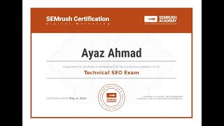 Certificate Technical SEO Exam Answers 2020 |  SEMrush SEO Certification | Be Certified Ayaz