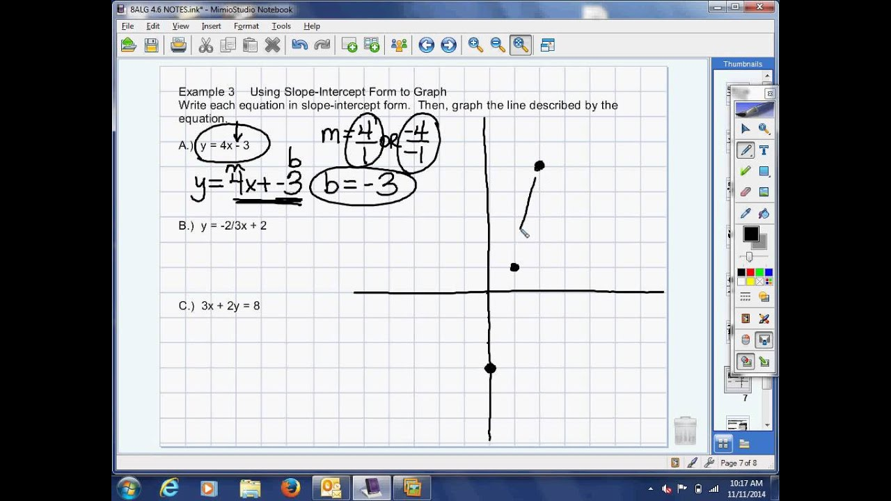 46 example 3 use slope intercept form to graph youtube 46 example 3 use slope intercept form to graph falaconquin