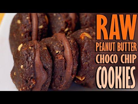 Raw Vegan Peanut Butter Chocolate Chip Cookies - Healthy Dessert