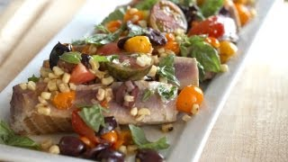 Whitney's Seared Ahi Tuna W/ Warm Veggie Salad Recipe || Kin Eats