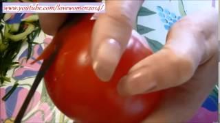Цветок из помидора и огурца. Украшения стола к празднику. Цветы из овощей своими руками.