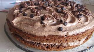 """Торт """"Шоколадный рай"""" с масляным кремом.Простой рецепт бисквита и масляного крема."""