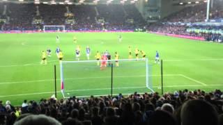 Kevin Mirallas Scores His Penalty. Everton 2, Dagenham and Redbridge 0
