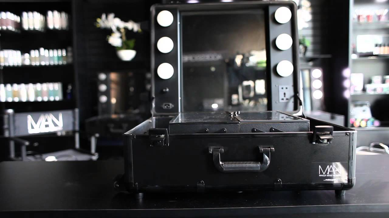 Makeup Artist Network Black Studio Makeup Case With LED Lights, Mirror, And  Legs   YouTube