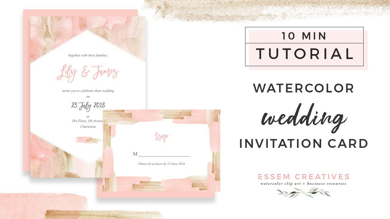 How to Make a Blush and Gold Watercolor Wedding Invitation on a Mac ...