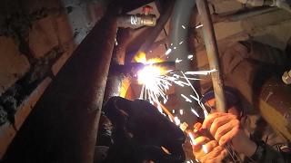 Газосварка.Как переварить  резьбу.С водой Gas welding