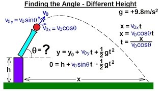 Physics - Mechanics: Projęctile Motion (3 of 4) Finding the Angle - Different Height
