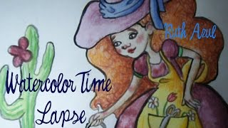 Watercolor and pencil Witchy Gardener  Time lapse drawing