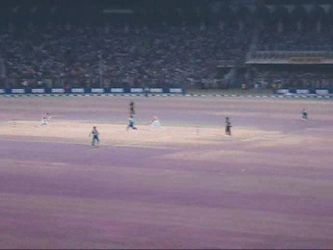Six on first ball-Final 20-20 Cricket Tournament Gaddafi Stadium at Night 8 Oct 2008 Lahore Pakistan