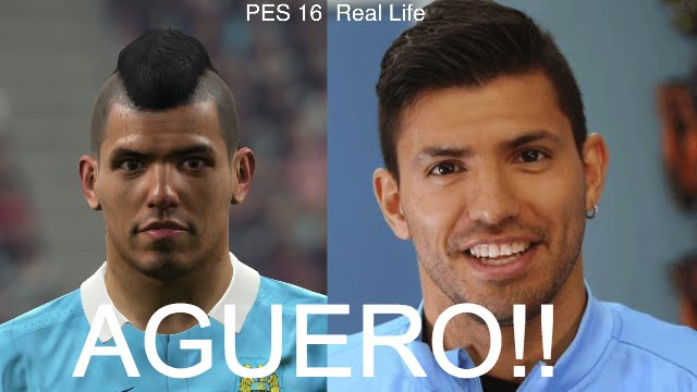 SERGIO AGUERO IN FIFA 16 AND PES 2016 Face Review 40