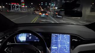 First try of Tesla Drive on Navigation: Construction zone, solid white lines, etc