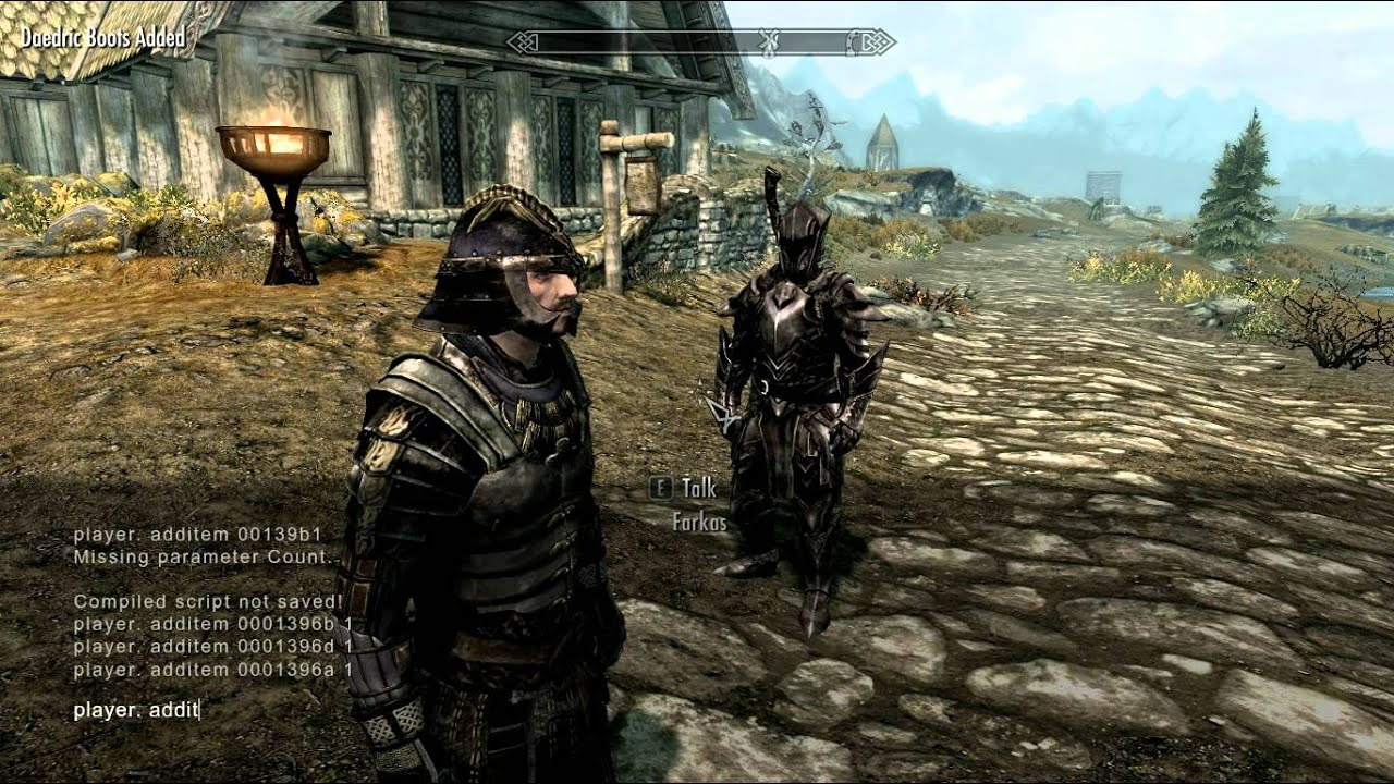 SKYRIM: Get full set daedra weapon and armor with console - YouTube