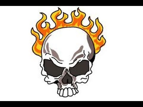 How to draw a skull on fire youtube how to draw a skull on fire voltagebd Choice Image