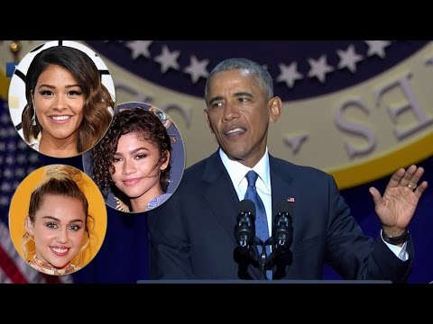 Celebs React To President Obama's EMOTIONAL Farewell Speech - Where was Sasha?