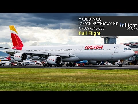 Iberia Business Class Full Flight | Airbus A340-600 | Madrid to London Heathrow (with ATC)