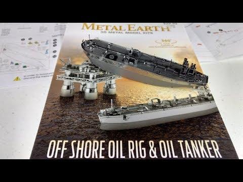 Metal Earth Build - Oil Tanker - Offshore Oil Rig and Oil Tanker box set