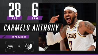 Carmelo Anthony drops 28 PTS and the Lakers get their first W of the season 🔥