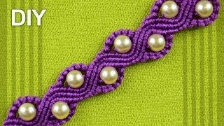 Repeat youtube video How to Make a SNAKE or a WAVE Macrame Bracelet with Beads