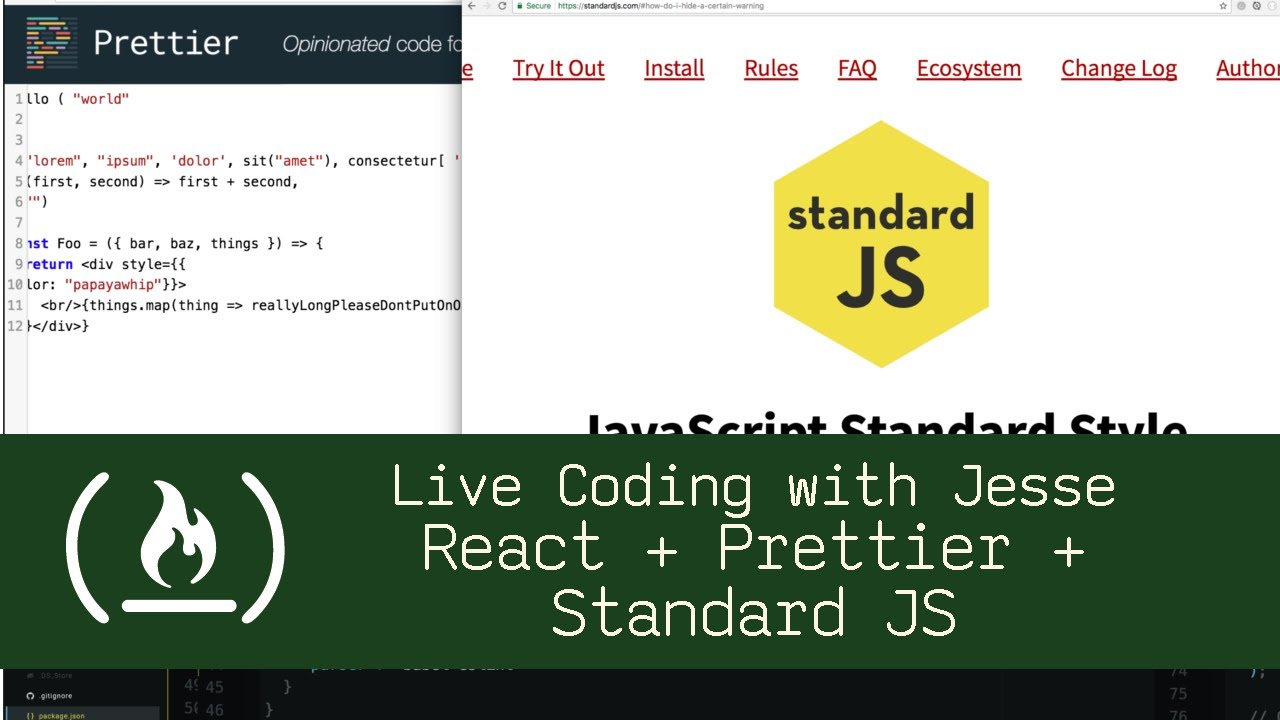 React + Prettier + Standard JS - Live Coding with Jesse