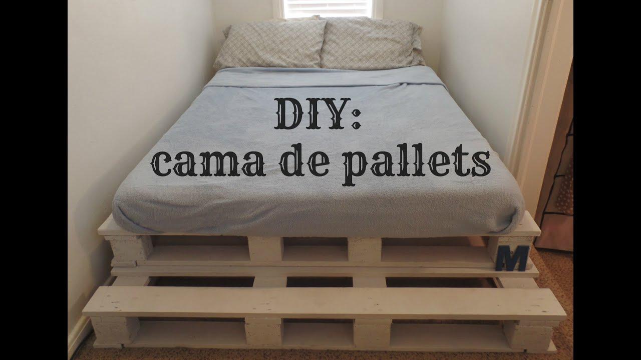 Cama com pallets diy youtube for Cama palets